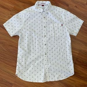 Cactus Man White Anchor Button Down Shirt